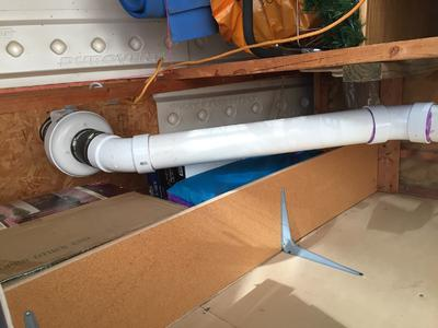 RP145 fan installed in garage attic space. Note I ran the electrical after this picture was taken. Extension cord was temporary.