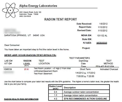 My Radon Test Results