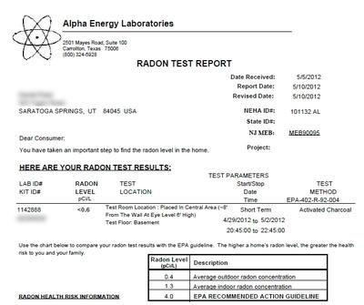 Post Radon MitigationTest